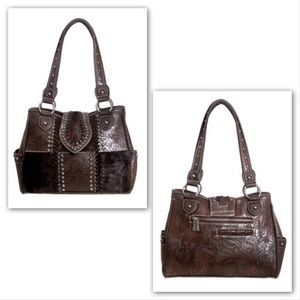 Montana West Trinity Ranch Tooled Leather Satchel